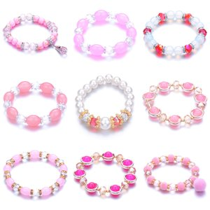 Girl powder glass string bead bracelet a variety of mash-up elastic hand string light color with hanging