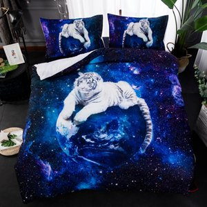3D blue star galaxy Tiger wolf bedding sets animala print quilt comforter cover pillow cases 2 3 pcs white tiger bedclothes
