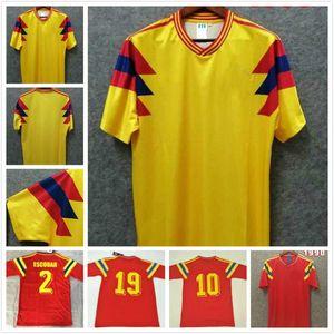 Colombie 1990 rétro jersey # 10 ValderRama # 9 Guerrero Accueil Jaune Red Commémorez-la Collection AntiqueVintage Chemise de football