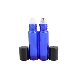 Cobalt Blue 10ml Glass Roll-On Bottles with Stainless Steel Glass Roller Ball Perfume Essential Oil Container Portable Travel WB3236