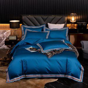 Egyptian cotton bedding set 1000TC high-end pure color delicate lace bedding set