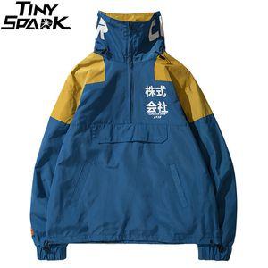 Hip Hop Jacket Windbreaker Men Japan Harajuku Multi Pockets Jacket Coat Retro Vintage Casual Track Jacket Streetwear Autumn 201022