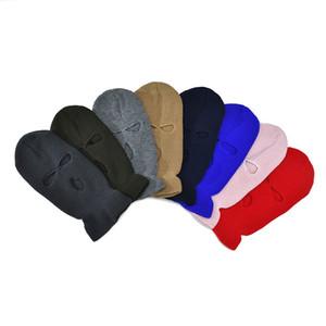 15 colori tre fori della copertura completa della maschera di protezione a maglia Beanie Solid inverno caldo passamontagna cappello antivento Visiera Crochet Cap Paraorecchi M2903