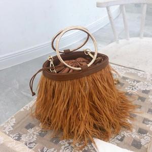 Vintage Fashion Ostrich Tote Bag Women's Designer Winter Handbag Feather Bucket Bag Shoulder Messenger