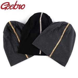 Geebro métal strass Slouchy Skullies Beanies Femmes Femme Automne Caps Bonnets d'hiver en coton stretch Chapeaux Casual
