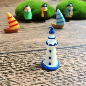 Mini Mediterraner Stil Weiß Blau Leuchtturm Moss Terrarium Handgefertigte Aquatic Ornament Micro Landschaft Zubehör Feegarten EWB2088