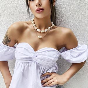 2pcs / Set Baroque Irregular Simulé Perle Déclaration Collier Été Vacances Élégantes Pearl Couker Bijoux pour femmes