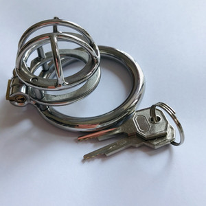 New Stainless Steel Male Chastity Cage Locking Metal Cock Cage with 40 45 50mm Penis Ring Testicle Bondage Gear Sex Toys for Men