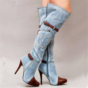 Hot Sale-Over the knee women boots autumn winter denim high heels ladies shoes sexy buckle strap platform long boots thigh high boots