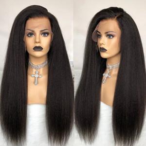 Peluca llena de peluca llena de pelucas de pelo humano para mujeres negras 250 densidad u pieza Peluca Yaki Full Lace Wig Lace Front Wigs EverbEheauty