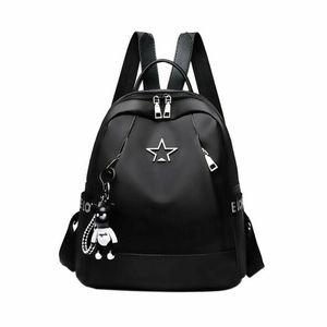 New Fashion Women Large-Capacity Backpack Travel Shoulder Bag Soft Rucksack Ladies Oxford Backpack Black