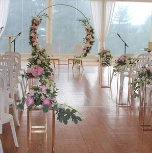 Grand Event Iron Circle Backdrops With Pillar Plinths Stand For Wedding Birthday Shower Arch Outdoor Lawn Mesh Screen Sign Guide
