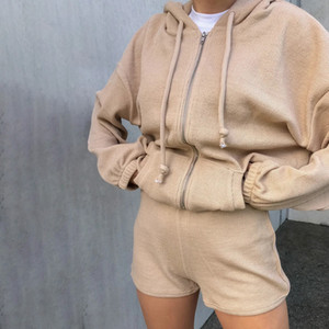 Hot Style Womens Clothing Corduroy Sweater Set for Women Autumn and Winter Fashion Street Home All-Matching Graceful Zipper Hooded Casual
