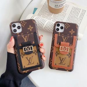 случаи дизайнер телефона для Iphone 11 про макс X XR XS MAX с картой карман сетка кожи задней крышкой для iPhone 12 8 7Plus случая