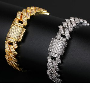 New Color 20mm Cuban Link Chains Bracelets Fashion Hiphop Jewelry 2 Row Rhinestones Iced Out Bracelets For Men 9inch Designer Bracelets