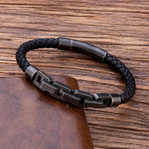 TANGYIN Retro Punk Style Men's Bracelet Bicycle Motorcycle Stainless Steel Chain Bracelet Black Quality Leather for Men