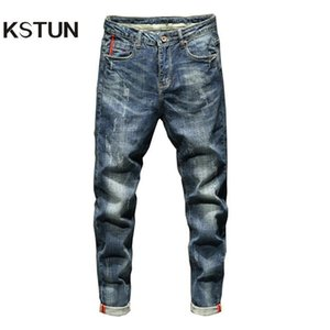 KSTUN Slim Fit Jeans Autumn and Winter Retro Blue Stretch Fashion Pockets Desinger Men Fashions Casaul Man Jeans Brand 2020