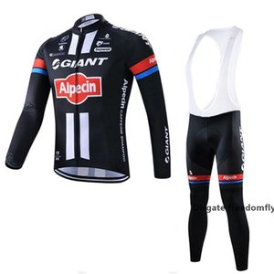 2020 Hottest Giant Team Cycling Long Sleeves Jersey Bib Pants Sets Men \&#039 ;S Bicycle Clothing Quick Dry Comfortable