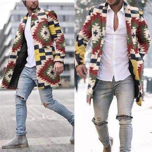 Designer Streetwear fresco Jacket Homem do arco-íris da manta Trench Coats Fashion Trend Sete cores do arco-íris Magro Longo Único Breasted Lã Casacos