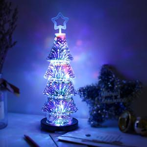 Christmas 3D Effect Fireworks LED Light Christmas Tree Desk Table USB Lamp Showcase Decoration for Home Tree