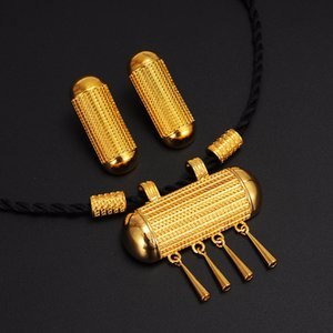 Ethiopian Traditional Jewelry set Necklace and Earrings Ethiopia Gold Eritrea sets for Women's Habesha Wedding Best Gift