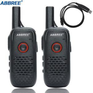 Walkie Talkie 2PCS ABBREE AR-Q2 Professional Handy Mini VOX USB Charge UHF Two Way Radio Comunicador Transceiver Woki Toki