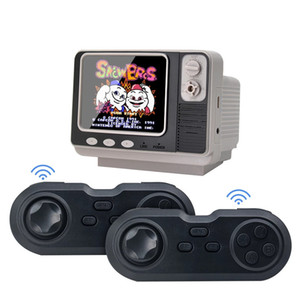 2.4G Wireless Game Controller Portable Handheld Game Consoles AV Out Video Game Player with Electron Clock and mini 3.0 inch HD Retro TV