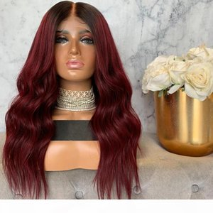1B 99J Ombre Red Color Deep Part Straight Lace Front synthetic Wigs With Baby Hair Glueless Brazilian Wigs For Women