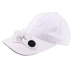 Beyaz Güneş Enerjili Fan Yaz Spor Açık Şapka Kap Güneş Güneş Güç Soğutma Fanı Bisiklet Tırmanma Küçük Klima