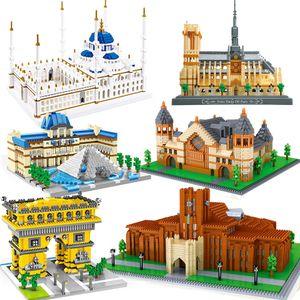 City Architecture Eiffel Tower University Castle Micro Building Blocks Taj Mahal Big Ben London Paris Louvre New York Brick Toy X0102