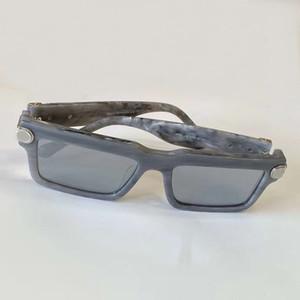 Mármore Joy Branco Cinza Lentes de espelho de prata dos óculos de sol 1403 Mens Sunglasses Sun Gglasses des lunettes de soleil com caixa