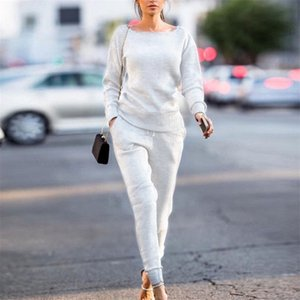 2020 New Autumn Winter Lossky Slim Women Knitted Suit Casual Track O-neck Long Sleeve Ladies Sports Suits