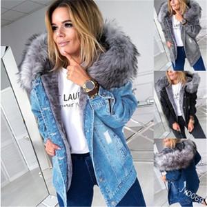 Cuello de piel de pelaje Denim Jacket Fashion Versión Coreana Botón Espesano Abrigos con capucha Diseñador Femenino Invierno Nuevo Casual Fleece Slim Outerwear