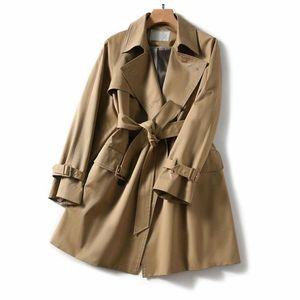 2020 new design high-end luxury windbreaker women's long knee British style loose long-sleeved jacket women's trendy ins free shipping