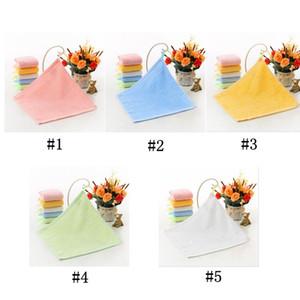 Kinder toalla de cara Square limpiarse las manos Llanura de fibra de bambú cuadrado pequeño jardín de infantes limpiar la cara toallas de mano 25 * 25 cm OWE2044