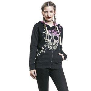 새로운 도착 여자의 두개골 스웨터 호박 후드 스포츠 풀오버 긴 소매 겨울 겉옷 야외 인쇄 해골 지퍼 크기 S-2XL