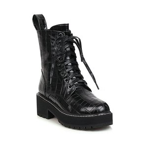 2020 New Superfine Fiber Square Heel Antiskid Ankle Boots Round Toe Fashion Cross-tied+ Zipper Women Shoes Size 34-43