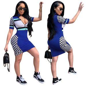 2021 spring and summer women's new short sleeve stand collar positioning printing dress nightclub skirt