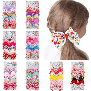 Children's hairpin bow hairpin Set European and American girls love bow bangs clip Valentine's Day gift 6pcs set Party