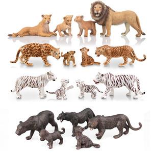 """Realista selvagens Animais leão, tigres brancos, leopardos, Panther Figurines com filhotes, 2-5"""" Safari Animal Modelo Figuras Set Família 1008"""