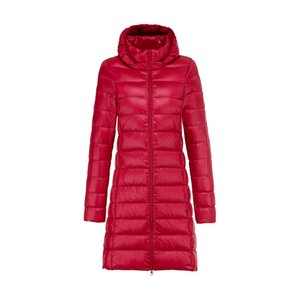 2020 Winter Women Duck Down Casaco Longo Parka Candy Color Jackets Mulheres Duck Down Jacket Outwear Ultralight Casacos com capuz Overcoat Z0112
