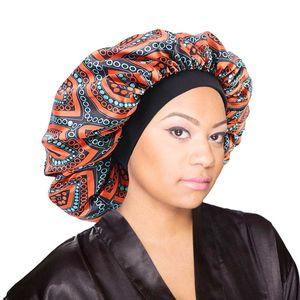 Donne Bonnet africano di stampa del tessuto del raso Ankara notte di sonno Cap Elastic ampie fasce musulmana Turbante Bandane fascia Testa Capelli Wrap