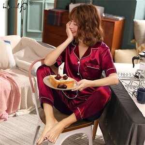 Women Silk Satin Sets Sleepwear Short Sleeve Top+Long Pants Pajamas Home Clothing Pyjama Night Suit Y200107