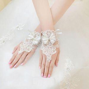 Fünf Fingerhandschuhe Dekoration Bowknot Fingerlose Bräute Bohrer Weihnachten Blumengeschenk Spitze Damen