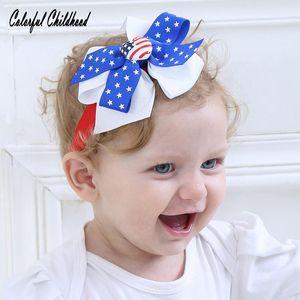 Venta caliente europea y estadounidense Hot Day Day Bow Bood Band Baby Bandera Diadema Bebé Bisel Banda de pelo