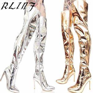 RLINF Spiegel Leder europäischer und amerikanischer Stil Stilettos Stiefel für Frauen High Heels Oberschenkel hohe Stiefel 33-34-38-40-46-481