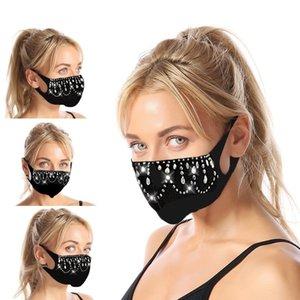 Creative Designer Face Mask Black Inlay Crystal Mascherine Mascherine A prueba de polvo A prueba de polvo Boca Mascarillas de tela 7 11JY L2