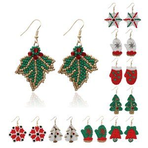 2020 New Christmas Earrings rice beads Christmas Tree tassel Earrings Christmas gloves hats Snow Flakes three style earrings