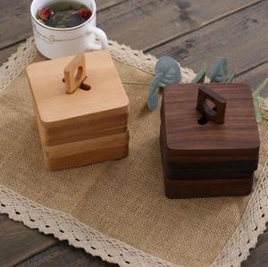 6 قطعة دعوى الكلاسيكية الأسود الجوز كوستر الخشب العزل حصيرة الصلبة الخشب دعوى الشاي كوب حصيرة BD05