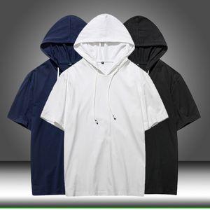 Fashion-2020 Summer Men tshirt Casual Solid Loose Hooded Tops Tees Shirts Male New Sportswear Hoodie Short Sleeve Mens T-shirt Clothing